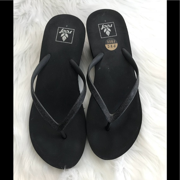 42b2cc4733 Reef Shoes | Krystal Star Wedge Flip Flops 8 Black | Poshmark